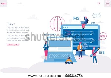 Development of a back-end front-end platform for business process , data interactions integration. Vector illustration Complex integrations Salesforce CRM, MS CRM,
