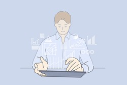 Development strategy, working, business analyse concept. Young smiling businessman cartoon character sitting working on laptop computer with digital layer business strategy and social media diagram