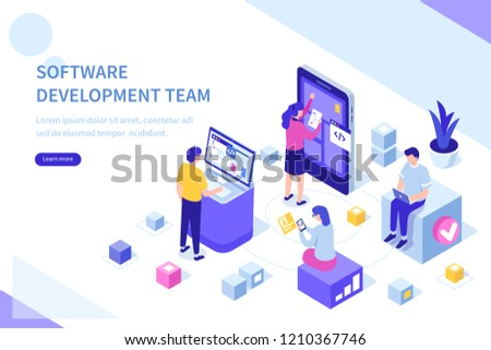 Development team at work concept. Can use for web banner, infographics, hero images. Flat isometric vector illustration isolated on white background.