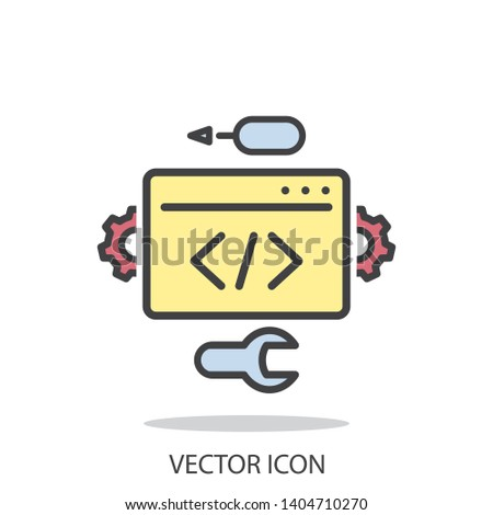Development vector icon, line symbol on white background - editable stroke vector illustration eps10
