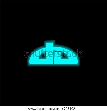 Deviantart blue glowing neon ui ux icon. Glowing sign logo vector