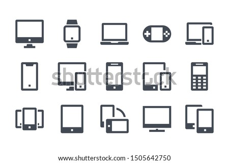 Device and Gadget glyph icon set. Computer, smartphone and electronic devices filled icons. Smart device solid vector sign collection.