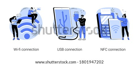 Device connectivity abstract concept vector illustration set. Wi-fi, USB and NFC connection, network access, cable data transfer, hard drive, USB port, contactless card payment abstract metaphor.