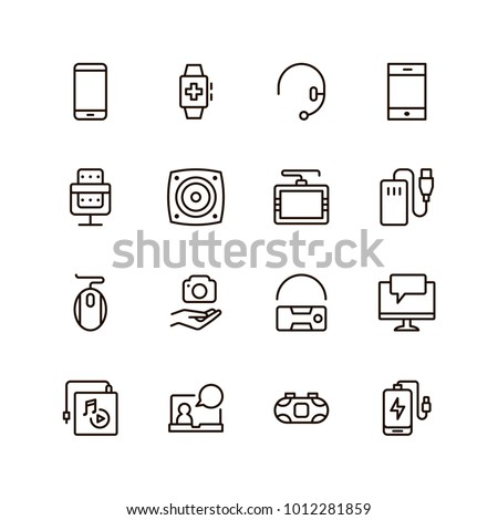 Device flat icon set . Single high quality outline symbol of info for web design or mobile app. Thin line signs for design logo, visit card, etc. Outline logo of device