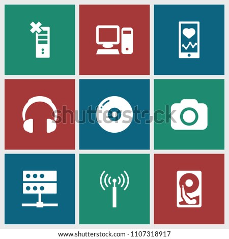 Device icon. collection of 9 device filled icons such as signal tower, disc, heartbeat on phone, server, camera, pc, hard disc. editable device icons for web and mobile.