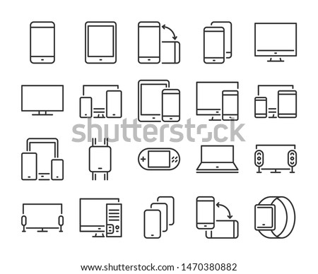 Device icon. Electronic and devices line icons set. Vector illustration.
