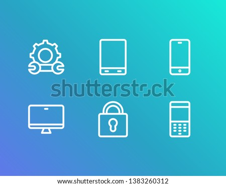 Device icon set and old phone with repair, monitor and phone ios. Telephone related device icon vector for web UI logo design.