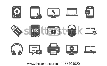 Device icons. Laptop, SSD and Headphones. Printer classic icon set. Quality set. Vector