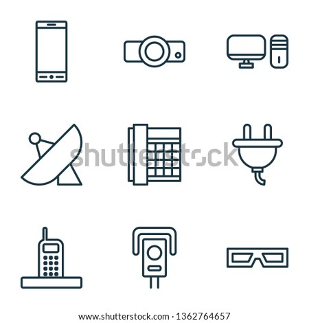 Device icons set with desktop PC, sputnik, office telephone and other personal computer elements. Isolated vector illustration device icons.