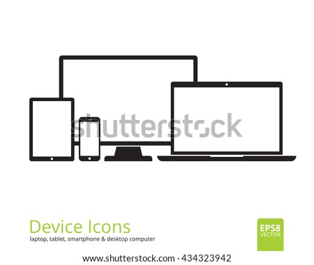 Device icons  tablet, smartphone, desktop computer and laptop. Set of flat gadgets  isolated on white background. Modern digital media mockup with blank displays. Responsive design template in EPS8.