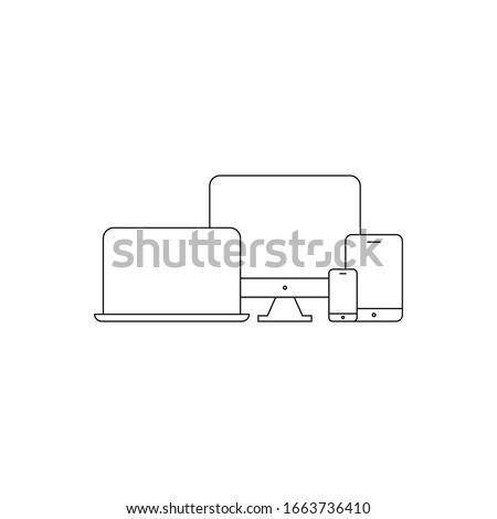 Device Icons vector illustration of responsive design for presentation thin line style