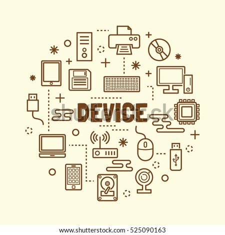 device minimal thin line icons set, vector illustration design elements