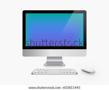 Device Set of Realistic Computer Monitor, Keyboard and Mouse with Blue Screen Isolated on White Background. Can Use for Template Presentation. Gadget Mock Up. Vector Illustration.