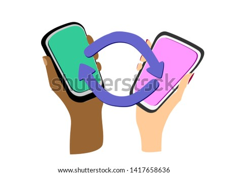 Device-to-Device communication concept. Direct data exchange between two mobile users. Female and male hands of different colors with smartphones