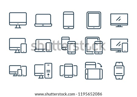 Devices and Electronics related line icons. Computers and mobile phones vector linear icon set.