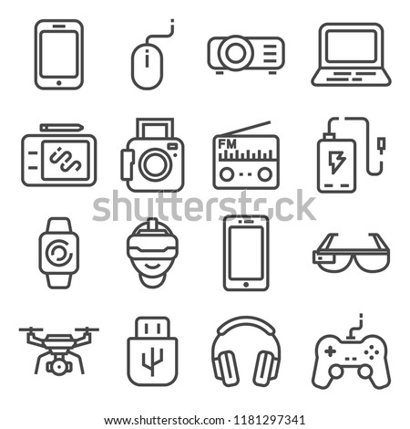 Devices and gadgets icons set. Usb flash drive, player, smart glasses and watches, tablet, drone notebook, radio, graphic tablet, joystick and more