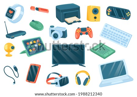 Devices cute stickers isolated set. Collection of fitness tracker, printer, music column, console, wifi router, tablet, cameras, tv, laptop, smartphone. Vector illustration in flat cartoon design