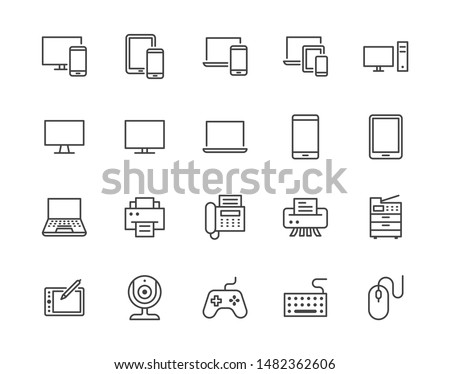 Devices flat line icons set. Pc, laptop, computer, smartphone, desktop, office copy machine vector illustrations. Outline minimal signs for electronic store. Pixel perfect. Editable Strokes.
