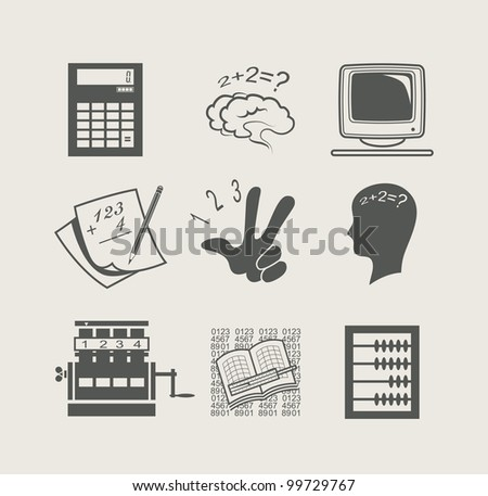 devices for calculation set icon vector illustration