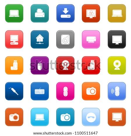 Devices Icons set - vector computer, electronics, laptop - smart technology
