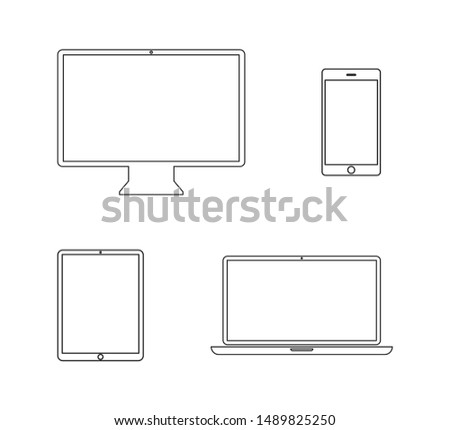 Devices linear icon isolated on white background. Phone social network concept. Flat design, vector. Laptop, tablet computer smartphone device. Business website concept. Digital vector illustration. E