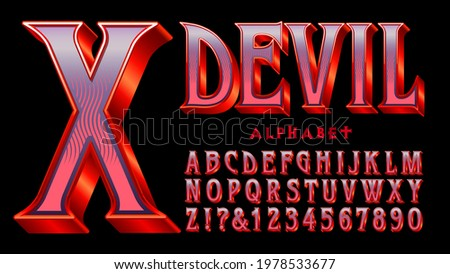Devil alphabet: A red and purple serif font with 3d and shiny gradient effects. Appropriate for Halloween, Goth, Satanic themes, costume packaging, movie and game graphics, etc. ストックフォト ©