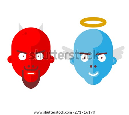 devil and angel vector icons