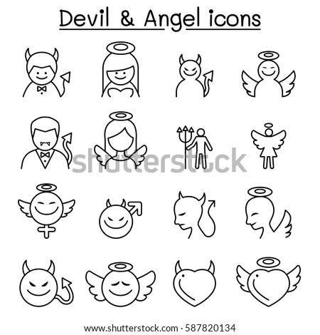 devil   angel icon set in thin