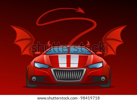 Devil car - stock vector