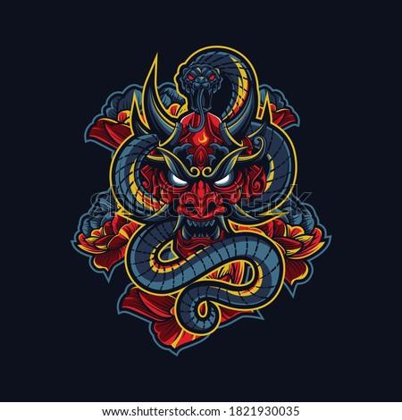Devil Evil Ronin Samurai with a snake
