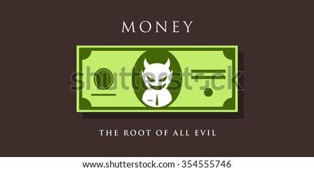 devil figure inside the money