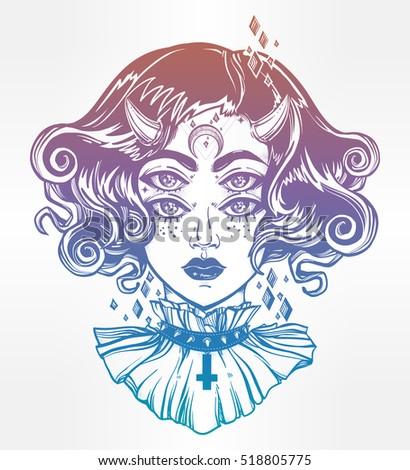 devil girl head portrait with