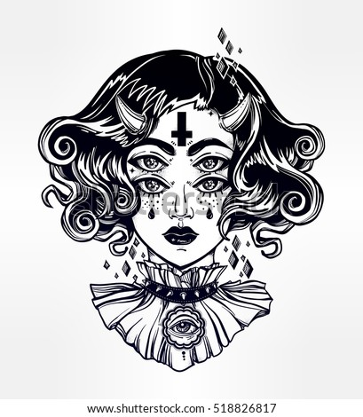 Devil girl head portrait with gothic hair, horns and four eyes. Four eyed lady is an ideal Halloween, tattoo, wierd, psychedelic art for print, posters, t-shirts and textiles. Vector illustration.