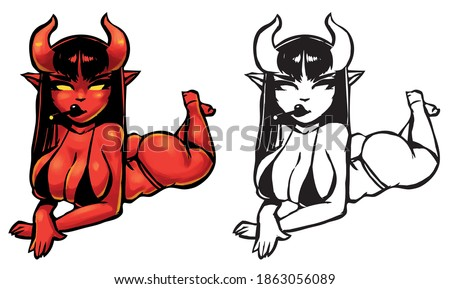 devil girl with a cigarette in a black bikini lying on her belly Stock photo ©