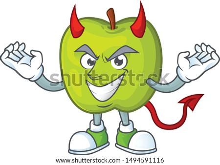 Devil granny smith green apple cartoon mascot