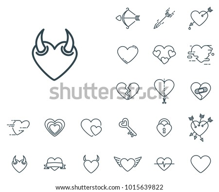 devil heart icon in set on the