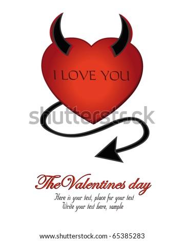 Devil Heart Valentine vector
