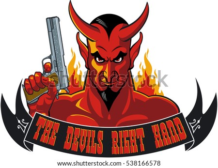 devil holding pistol and banner