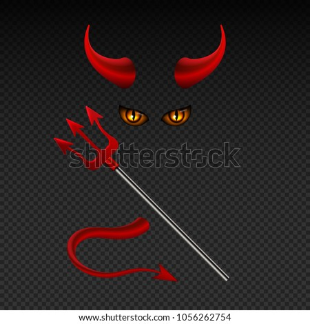 Devil horns, harpoon, satanic yellow eyes and tail isolated vector photobooth props for hell party. Illustration of satan or devil with horn