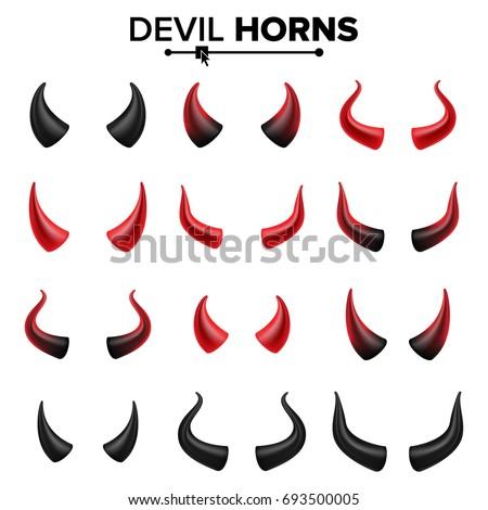 Devil Horns Set Vector. Good For Halloween Party. Red Devil Demon Satan Horn. Carnival Symbol Isolated Illustration.