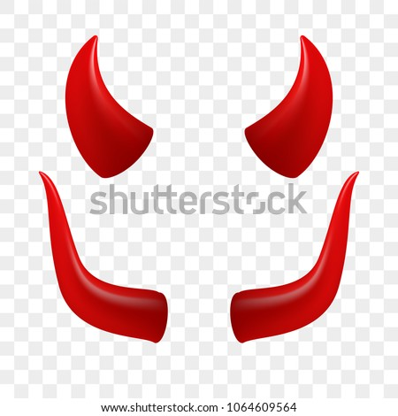 Devil horns video chat face camera effect selfie application vector icon