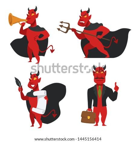 Devil in cloak with horns and tail red skin demon isolated icons vector soul contract signing and office suit with briefcase bullhorn or loudspeaker and trident creature from hell sins and evil deeds.