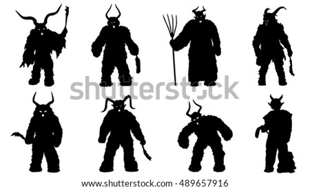 devil silhouettes on the white