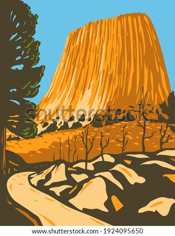 Devils Tower National Monument in Bear Lodge Ranger District of the Black Hills in Wyoming WPA Poster Art ストックフォト ©