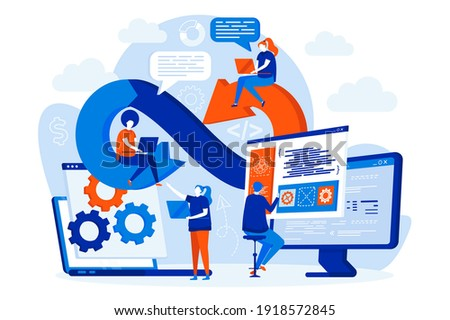 DevOps engineers web design with people. DevOps developers work with computers scene. Development operations composition in flat style. Vector illustration for social media promotional materials.