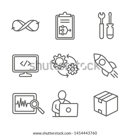 DevOps Icon Set w Plan, Build, Code, Test, Release, Monitor, Operate and Package