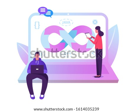 Devops Specialists Work Collaboration. Programmer and Businesswoman at Huge Laptop. Development Automation and Monitoring Cycles at All Steps of Software Construction. Cartoon Flat Vector Illustration