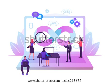 Devops Specialists Work Collaboration. Programmers and Businesspeople at Huge Laptop. Development Automation, Monitoring Cycles at All Steps of Software Construction. Cartoon Flat Vector Illustration