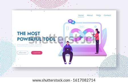 Devops Specialists Work Collaboration Website Landing Page. Programmer and Businesswoman at Huge Laptop. Development Automation and Monitoring Cycles Web Page Banner. Cartoon Flat Vector Illustration