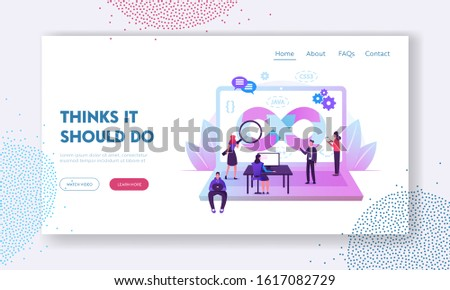 Devops Specialists Work Collaboration Website Landing Page. Programmers and Businesspeople at Huge Laptop. Development Cycles of Software Construction Web Page Banner. Cartoon Flat Vector Illustration